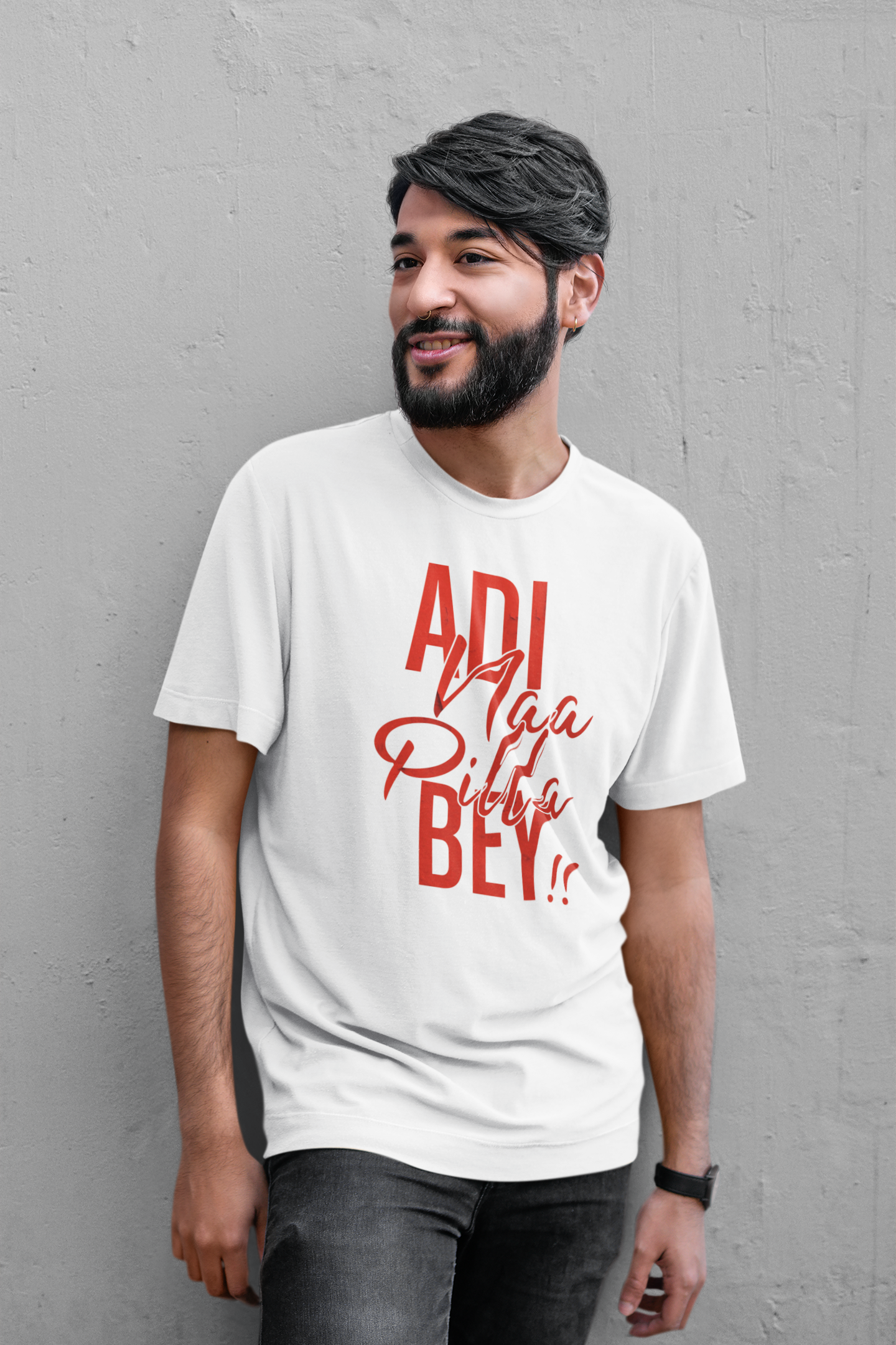 mockup of a bearded man wearing a slouchy t shirt 39349 r el2