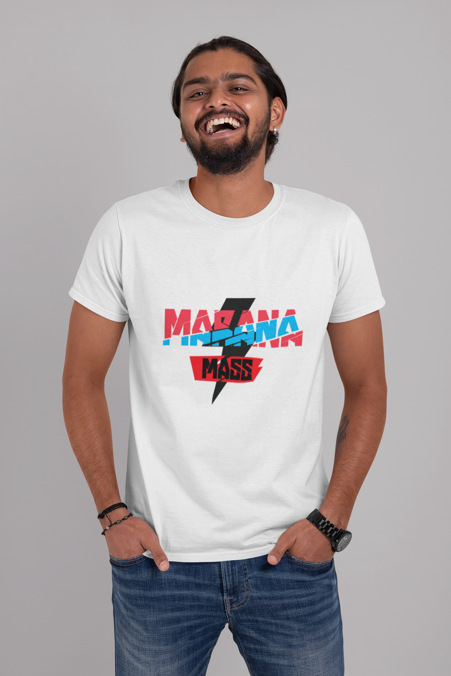 t shirt mockup of a bearded man laughing at a studio 29105